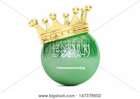 Crown with flag of Kingdom of Saudi Arabia 3D rendering