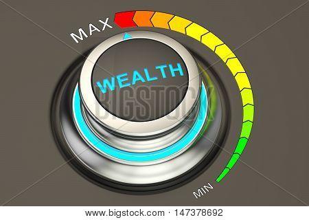 Wealth controller highest level concept. 3D rendering