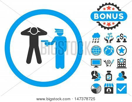 Arrest icon with bonus pictures. Vector illustration style is flat iconic bicolor symbols, blue and gray colors, white background.