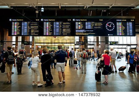 OSLO, NORWAY - AUGUST 27, 2016: Travelers at the Oslo S - Oslo Central Station