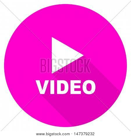 video flat pink icon