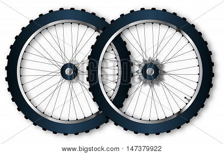 A pair of knobly tyres from a bicycle wheel with driving gear valve and spoke nipples.