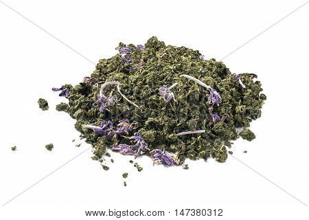 Dry fermented tea of fireweed (Chamerion angustifolium) also known as great willowherb or rosebay willowherb on white background. Traditional Russian Koporye Tea (Ivan Chai). Useful herbal tea