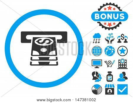 Bank Cashpoint icon with bonus pictures. Vector illustration style is flat iconic bicolor symbols, blue and gray colors, white background.