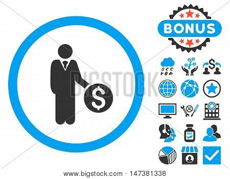 Banker icon with bonus pictogram. Vector illustration style is flat iconic bicolor symbols, blue and gray colors, white background.