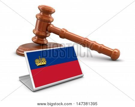 3D Illustration. 3d wooden mallet and Liechtenstein flag. Image with clipping path