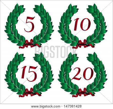 4 Numbered wreaths with a number isolated on a white background