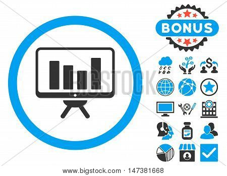 Bar Chart Monitoring icon with bonus pictures. Vector illustration style is flat iconic bicolor symbols, blue and gray colors, white background.