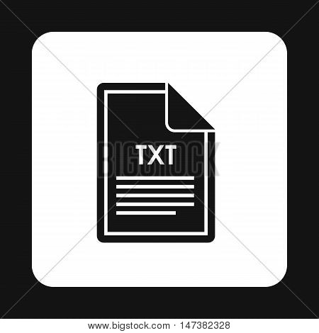 File TXT icon in simple style isolated on white background. Document type symbol vector illustration