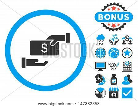 Bribe icon with bonus design elements. Vector illustration style is flat iconic bicolor symbols, blue and gray colors, white background.