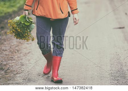 Caucasian Woman With Wild Herbs Bouquet