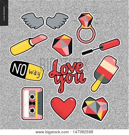 Set of contemporary girlish patches elements on denim background. Wings, ring, big diamond, lipstick, mascara brush, ice cream, cassette tape, hearts,letterings Love you, No way. Vector stickers kit.