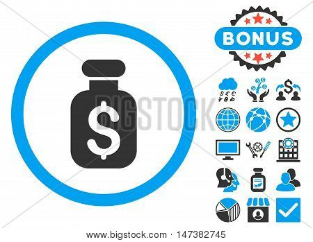 Business Remedy icon with bonus images. Vector illustration style is flat iconic bicolor symbols, blue and gray colors, white background.