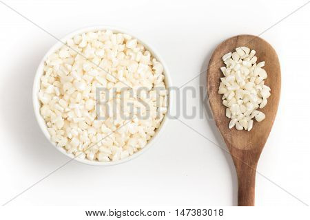White grated corn kernels isolated in white background