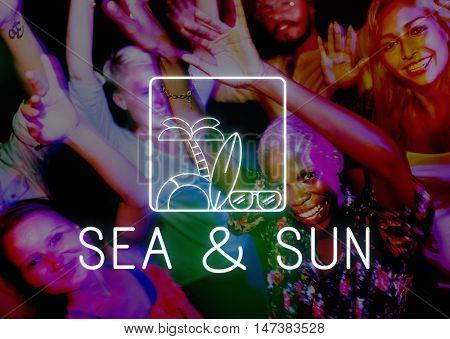 Summer Beach Sea Coast Graphics Concept