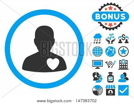 Cardiology Patient icon with bonus images. Vector illustration style is flat iconic bicolor symbols, blue and gray colors, white background.