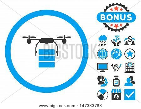 Cargo Drone icon with bonus pictogram. Vector illustration style is flat iconic bicolor symbols, blue and gray colors, white background.
