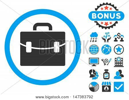 Case icon with bonus symbols. Vector illustration style is flat iconic bicolor symbols, blue and gray colors, white background.