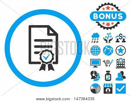 Certified icon with bonus elements. Vector illustration style is flat iconic bicolor symbols, blue and gray colors, white background.
