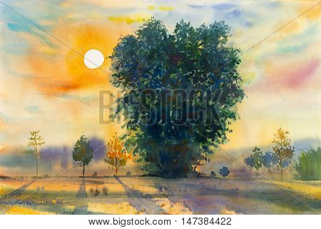 Watercolor landscape original painting colorful of evening sunset and emotion in blue background