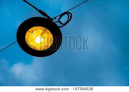 lamppost public lighting night street light blue sky background dusk