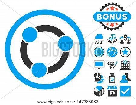 Collaboration icon with bonus images. Vector illustration style is flat iconic bicolor symbols, blue and gray colors, white background.