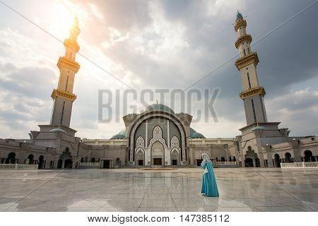 Wilayah persekutuan mosque with Islamic Malaysian muslim pray at mosque in Kuala Lumpur Malaysia