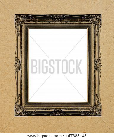 old picture frame on a paper background.