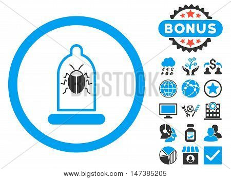 Condom Bug icon with bonus images. Vector illustration style is flat iconic bicolor symbols, blue and gray colors, white background.