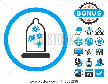 Condom Microbes icon with bonus images. Vector illustration style is flat iconic bicolor symbols, blue and gray colors, white background.
