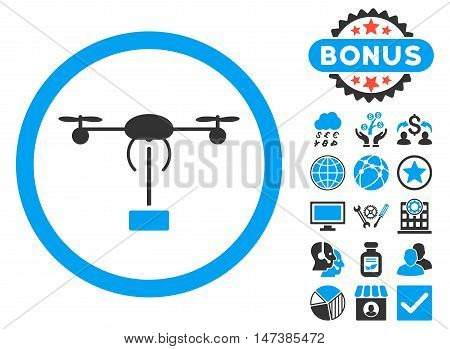 Copter Shipment icon with bonus elements. Vector illustration style is flat iconic bicolor symbols, blue and gray colors, white background.