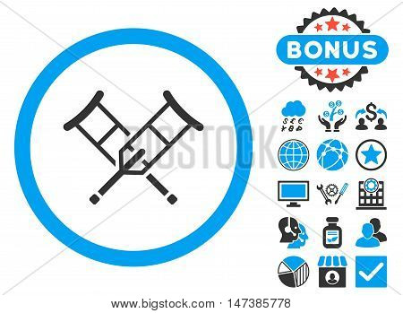 Crutches icon with bonus images. Vector illustration style is flat iconic bicolor symbols, blue and gray colors, white background.
