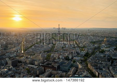 Aerial view of Paris with Eiffel tower at sunset in Paris France. Eiffel tower is international landmark in Paris France.