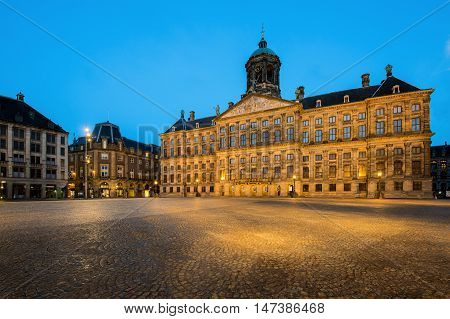 The Royal Palace in Dam square at Amsterdam Netherlands. Dam square is famous place in Amsterdam.