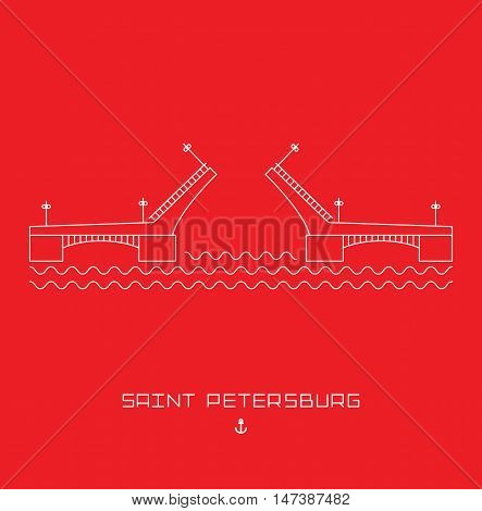 Palace Bridge - symbol of Saint Petersburg, Russia. Simple line drawn. Vector illustration isolated white shape on red background