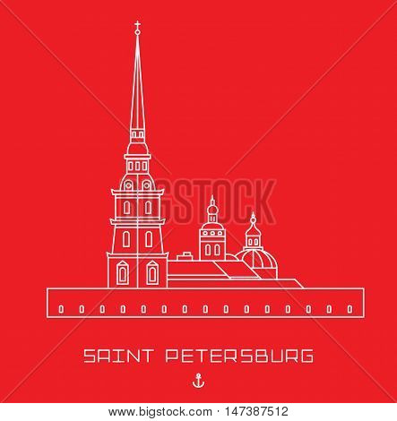 Peter and Paul Cathedral - Saint Petersburg architectural monument. Simple line drawn shape isolated white symbol on red background