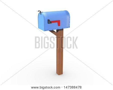 3D Rendering Of A Blue Mailbox Closed
