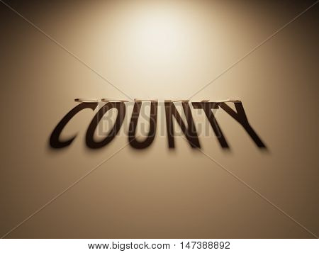3D Rendering Of A Shadow Text That Reads County