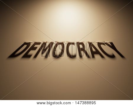 3D Rendering Of A Shadow Text That Reads Democracy