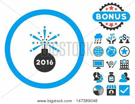 2016 Fireworks Detonator icon with bonus. Glyph illustration style is flat iconic bicolor symbols, blue and gray colors, white background.