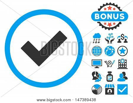 Accept icon with bonus. Glyph illustration style is flat iconic bicolor symbols, blue and gray colors, white background.