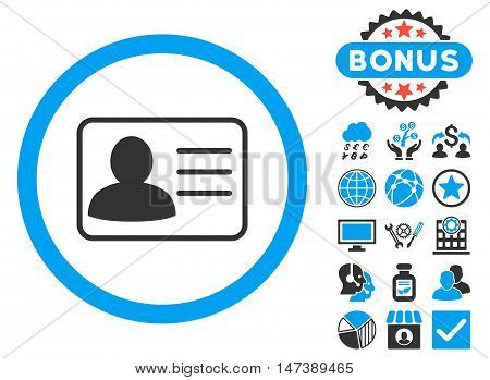 Account Card icon with bonus. Glyph illustration style is flat iconic bicolor symbols, blue and gray colors, white background.