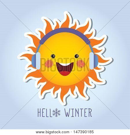 Cute smiling sun cartoon character with earmuffs / Winter vector illustration / Hello winter.