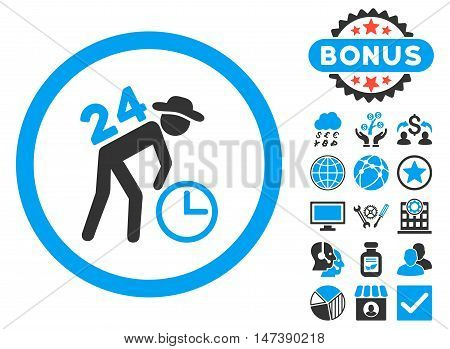 Around the Clock Work icon with bonus elements. Glyph illustration style is flat iconic bicolor symbols, blue and gray colors, white background.