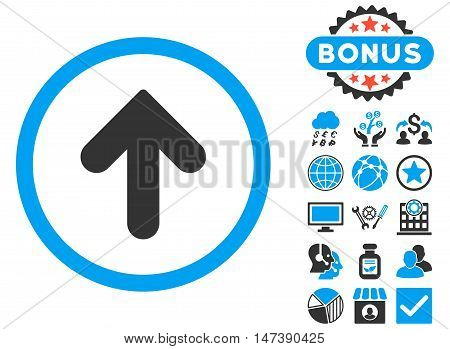 Arrow Up icon with bonus elements. Glyph illustration style is flat iconic bicolor symbols, blue and gray colors, white background.