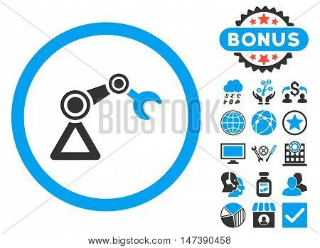 Artificial Manipulator icon with bonus images. Glyph illustration style is flat iconic bicolor symbols, blue and gray colors, white background.