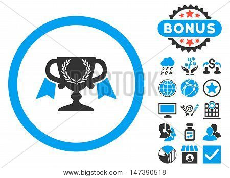 Award Cup icon with bonus design elements. Glyph illustration style is flat iconic bicolor symbols, blue and gray colors, white background.