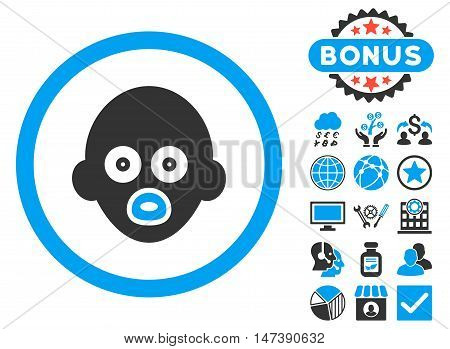 Baby Head icon with bonus design elements. Glyph illustration style is flat iconic bicolor symbols, blue and gray colors, white background.