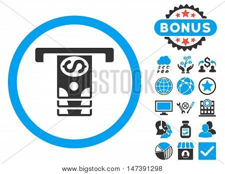 Banknotes Withdraw icon with bonus elements. Glyph illustration style is flat iconic bicolor symbols, blue and gray colors, white background.