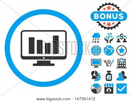 Bar Chart Monitoring icon with bonus design elements. Glyph illustration style is flat iconic bicolor symbols, blue and gray colors, white background.